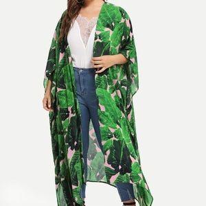 Pink & Green leaf kimono 2X
